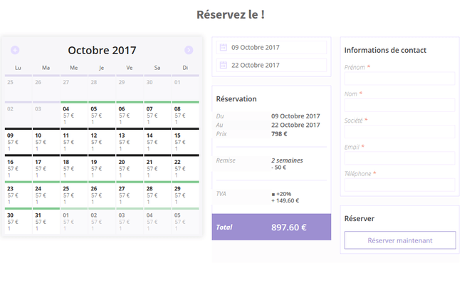 Site de booking/réservation